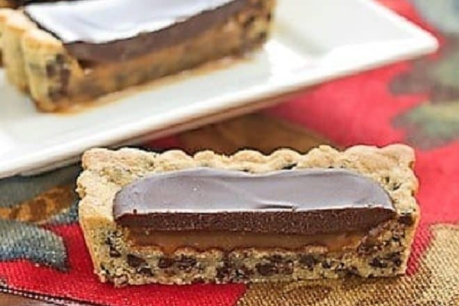 Chocolate Chip Cookie Tart with Caramel and Chocolate Glaze featured image