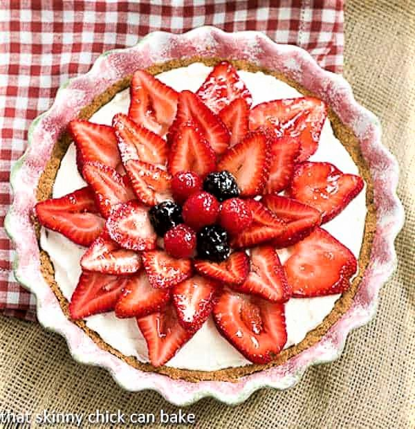 Strawberry Cream Cheese Dessert in a ceramic pie plate