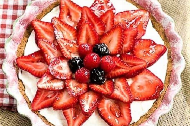 Overhead view of Strawberry Cream Cheese Dessert in a ceramic pie plate