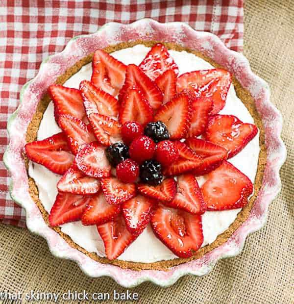 Strawberry Cream Cheese Dessert in a ceramic pie plate