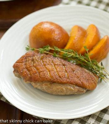 Seared Duck Breasts with Fresh Peaches