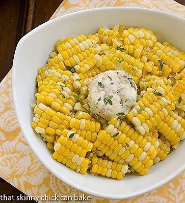 Oven Roasted Corn on the Cob sliced off the cob with a pat of butter
