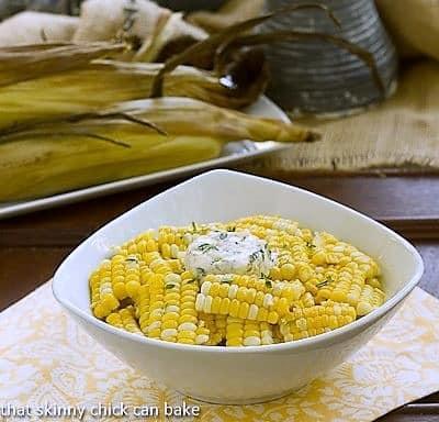 Boulevard Raspail Corn on the Cob in a white serving bowl