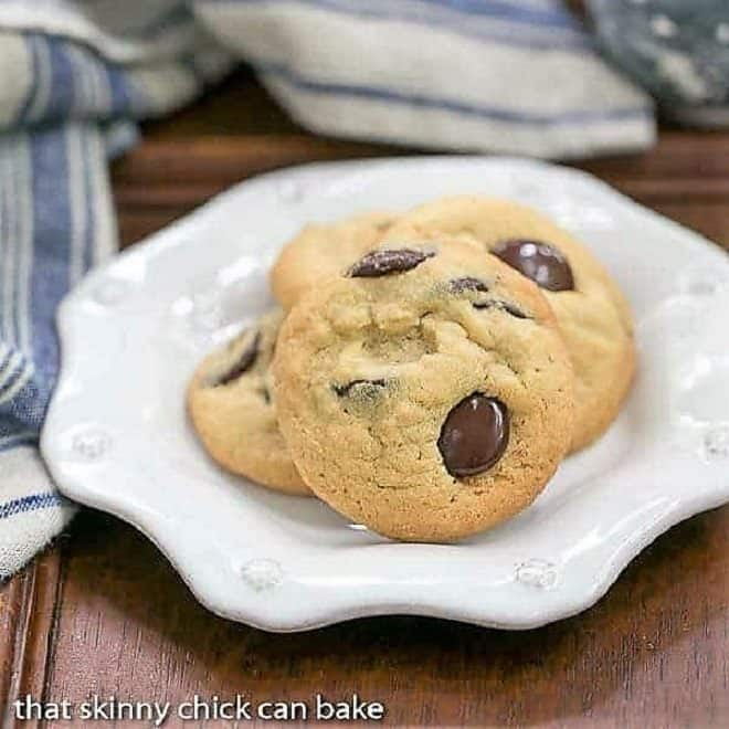 Soft Chocolate Chip Cookies with Pudding on a white dessert plate