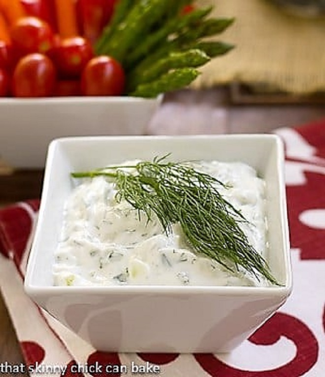 Greek Tzatziki in a white square bowl