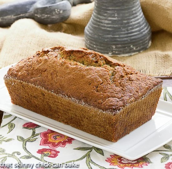 Sugar Crusted Zucchini Bread on a rectangular, ceramic serving tray