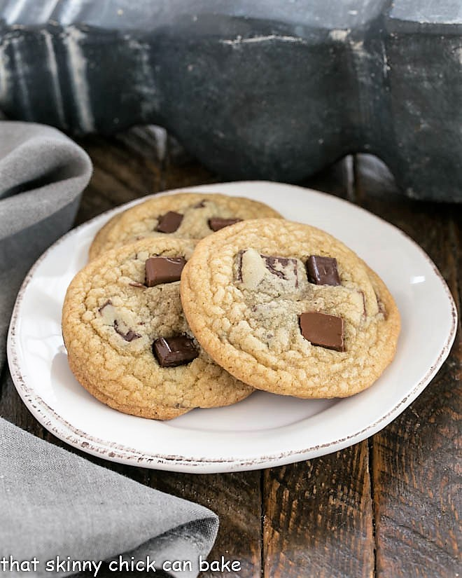 3 Ad Hoc Brown Sugar Chocolate Chip Cookies on a round white plate