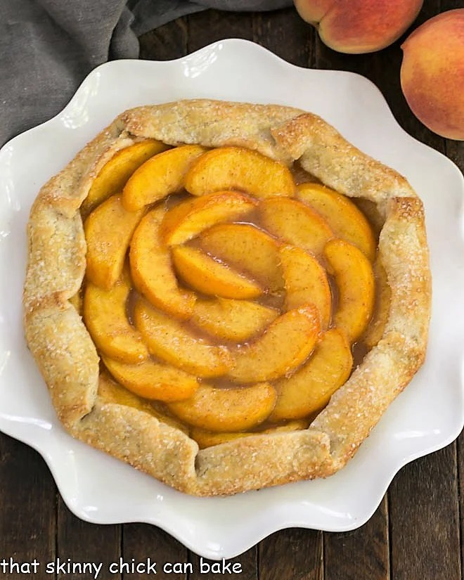 Overhead view of a Rustic Peach Galette