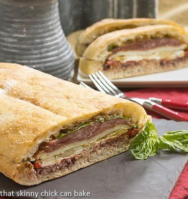 Pressed Brick Sandwich on a slate board