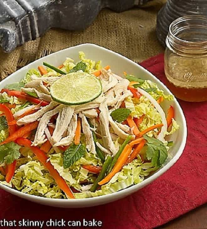 Vietnamese Chicken Salad in a white serving bowl