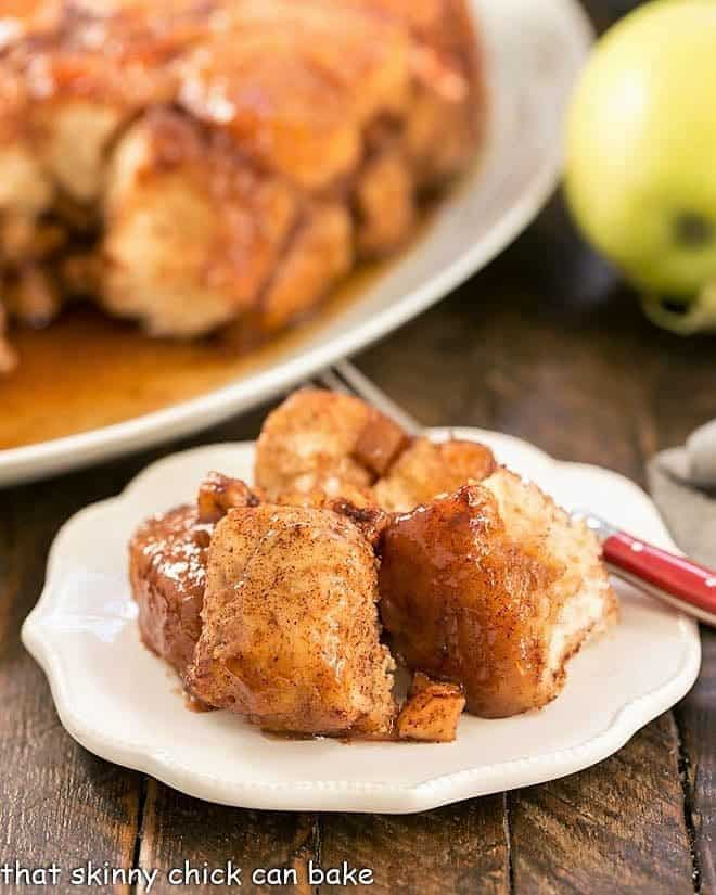 Apple Monkey Bread on a small white plate