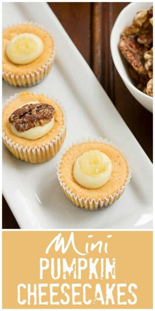 Mini Pumpkin Cheesecakes with Gingersnap Crust pinterest collage