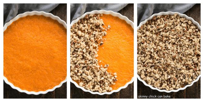 3 photos of making sweet potato casserole