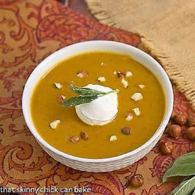 Butternut squash soup in a white bowl