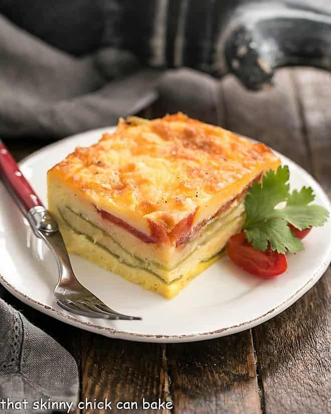 Chili Relleno Casserole slice on a white plate