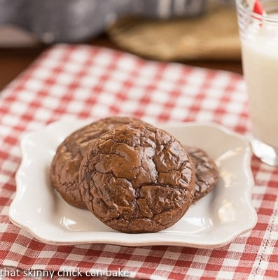 Double Chocolate Cookies on a small white dessert plate