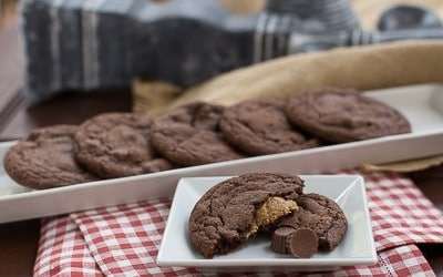 Peanut Butter Stuffed Chocolate Cookies  Reese's lovers will love these!!!
