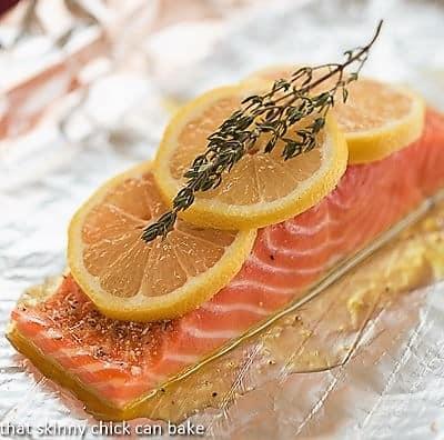Salmon Fillets en Papillote before baking on foil