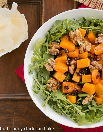 Arugula Salad with Roasted Butternut Squash | Jewel toned salad with squash, dried cherries and arugula!