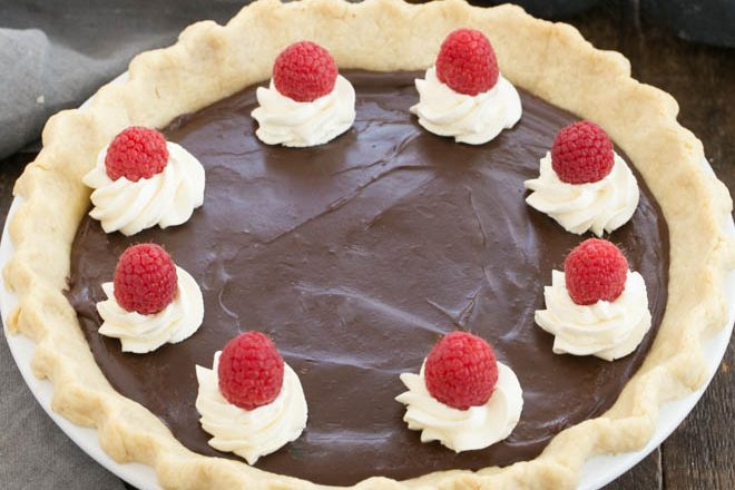 Overhead view of chocolate cream pie topped with whipped cream swirls, raspberries