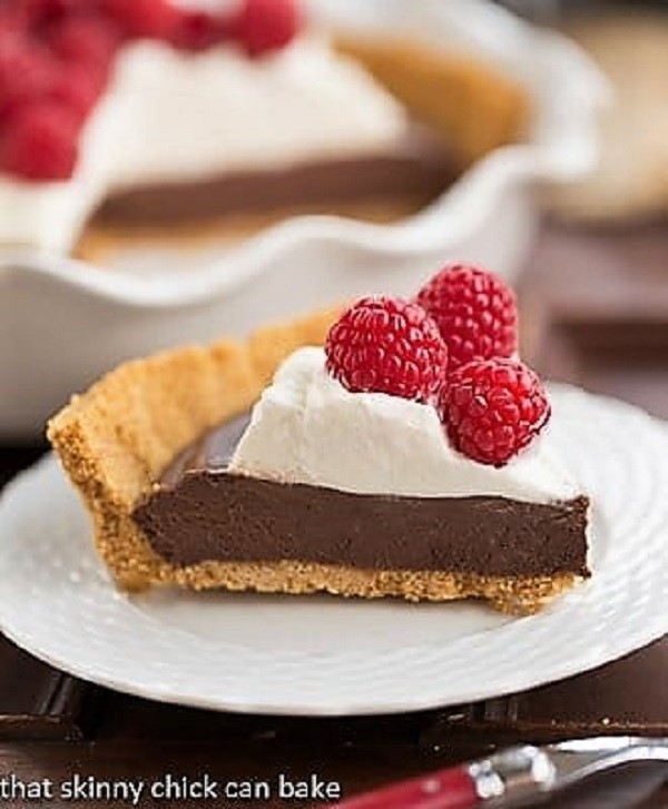 Chocolate Satin Pie slice on a white dessert plate