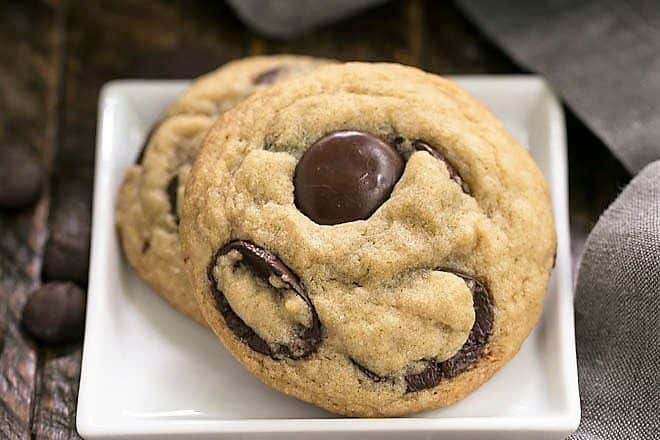Southern Living's BEST Chocolate Chip Cookies on a square white plate