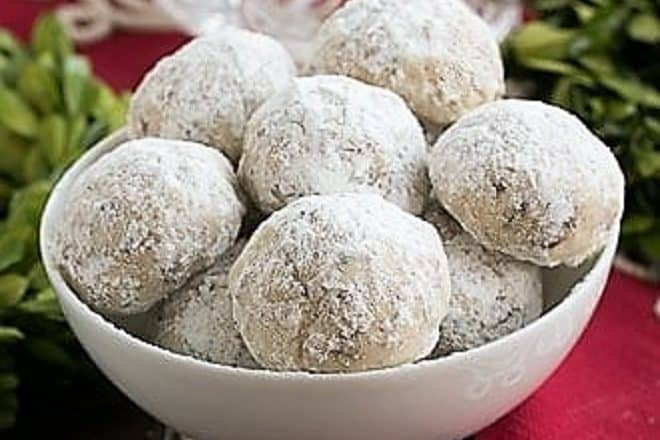 Noel Nut Balls in a white dish