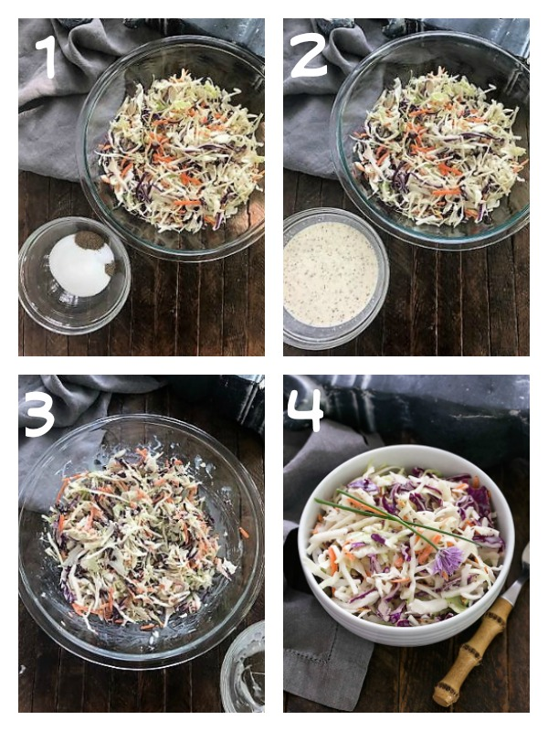 Collage of step by step photos for making coleslaw