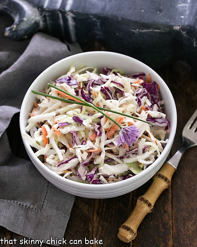 KFC Coleslaw Recipe with Buttermilk Dressing in a white serving bowl