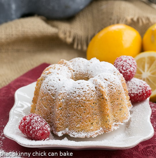 A Meyer Lemon Poppy Seed Tea Cake dusted with powdered sugar