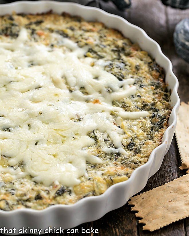 Spinach and ARtichoke Dip in a casserole dish