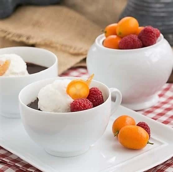 Chocolate Pots de Creme in coffee cups