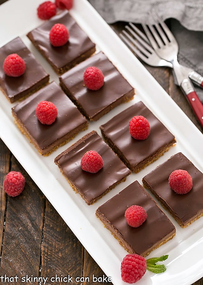 Overhead view of Dark Chocolate Mousse Bars on a white tray