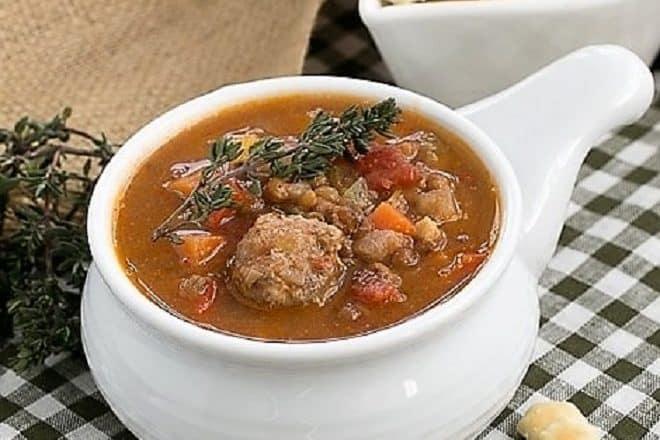 lentil sausage soup featured image