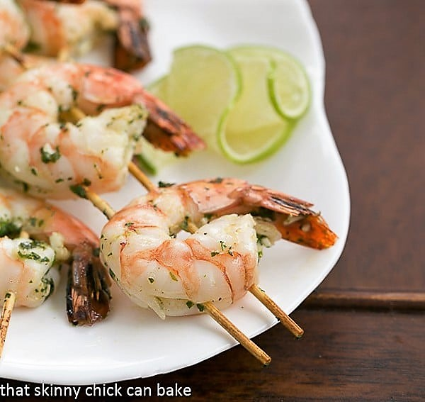 Close view of Grilled Shrimp Recipe on skewers