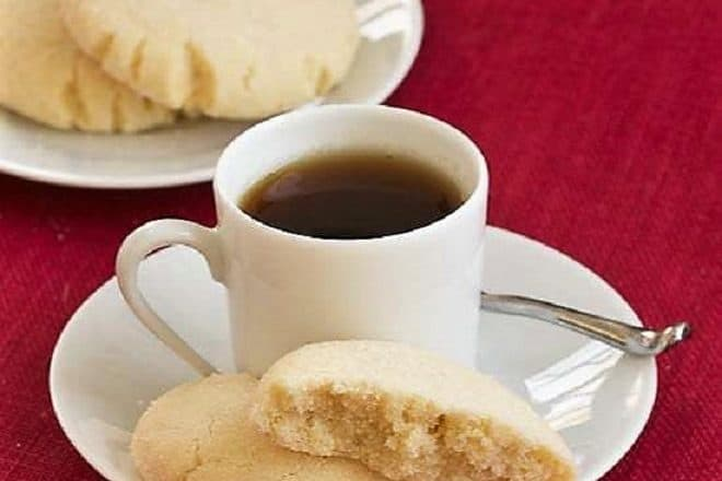 Angel Sugar Cookies with a cup of hot tea