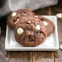 3 Brownie Drop Cookies on a square white plate