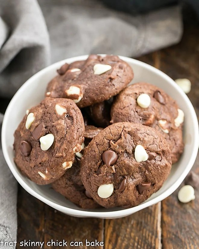 Brownie Drop Cookies in a white bowl