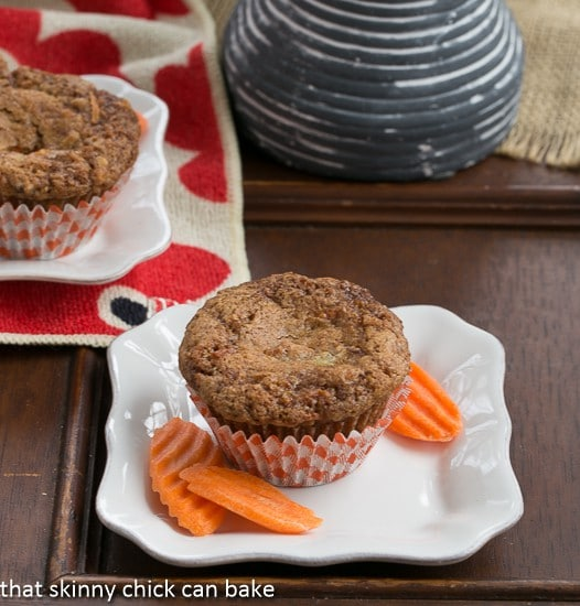 Cream Cheese Filled Carrot Cake Muffin on a square white ceramic plate