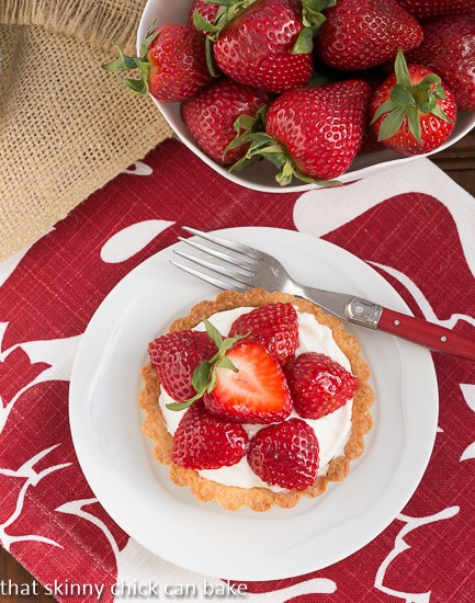Fresh Strawberry Tartlets - single tart on a small white plate
