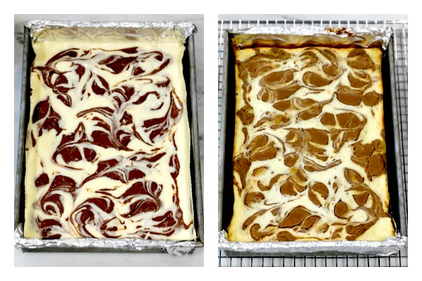 Two photos showing how to swirl brownie cheesecake bars