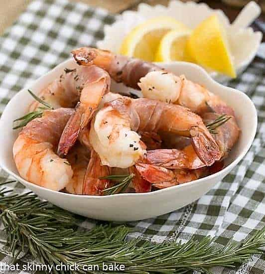 Rosemary Prosciutto Shrimp in a white bowl