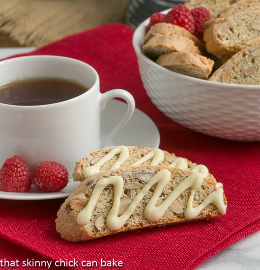Cantuccini or Almond Biscotti perched next to a cup of hot tea
