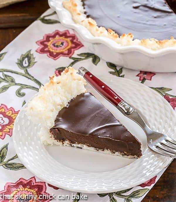 Coconut Crusted Chocolate Ganache Pie | Only FOUR ingredients in this marvelous pie!!