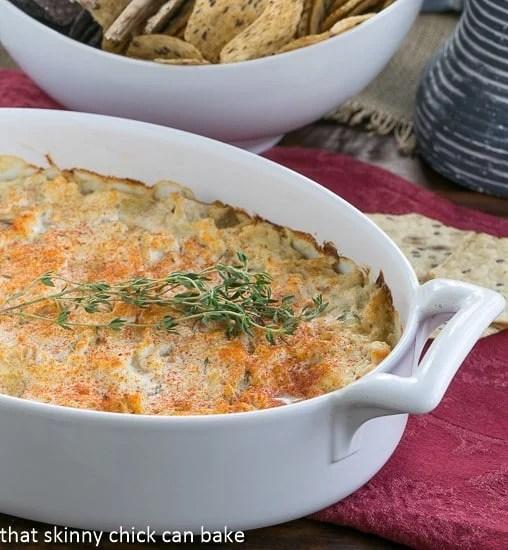 Hot Artichoke Shrimp Dip in an oval casserole dish