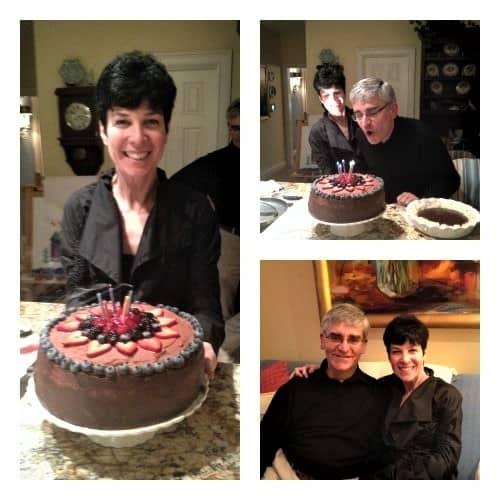 Chocolate Mousse Cake collage at birthday celebration