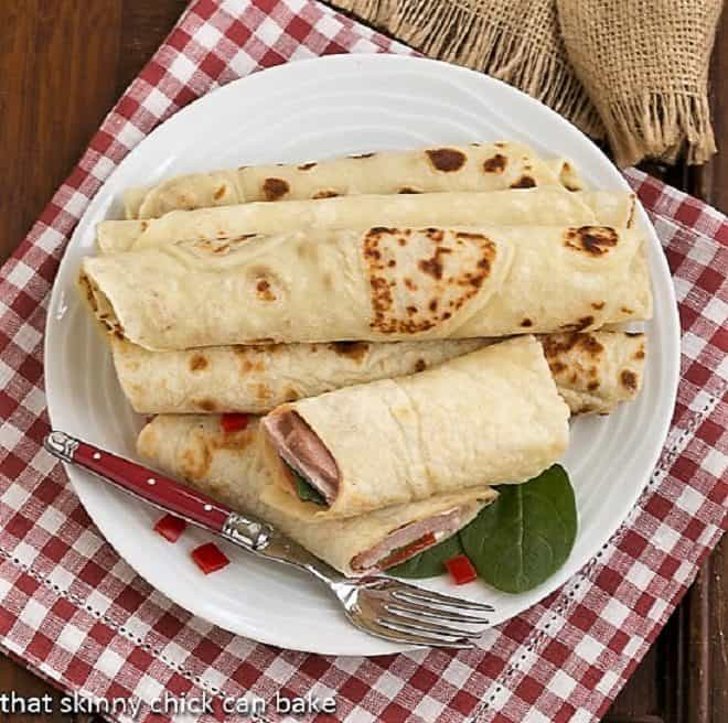 Potato Lefse on a white plate from above