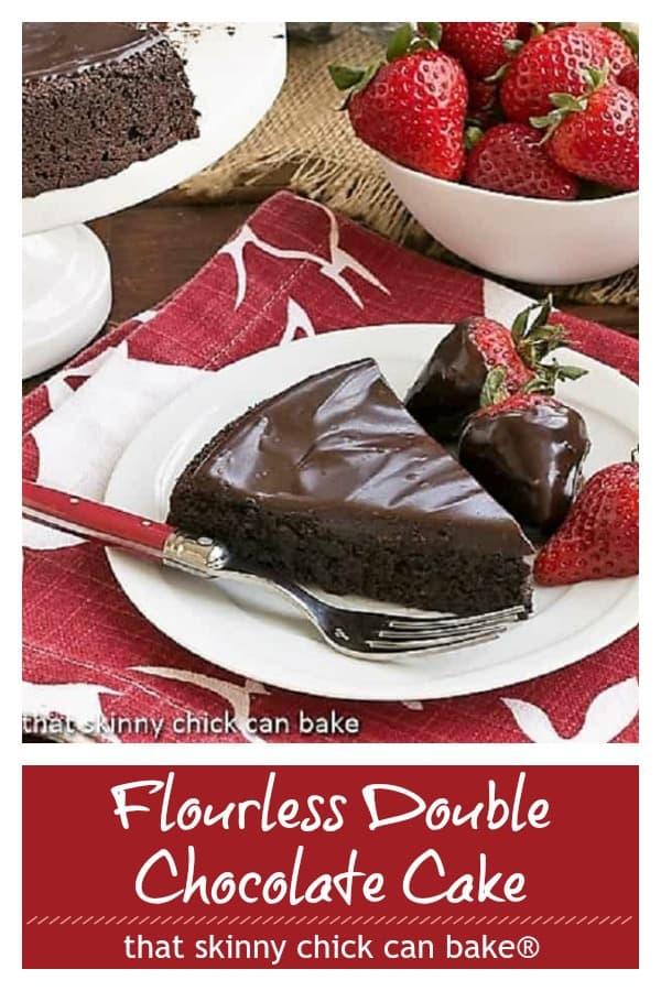 Flourless double chocolate cake pinterest image