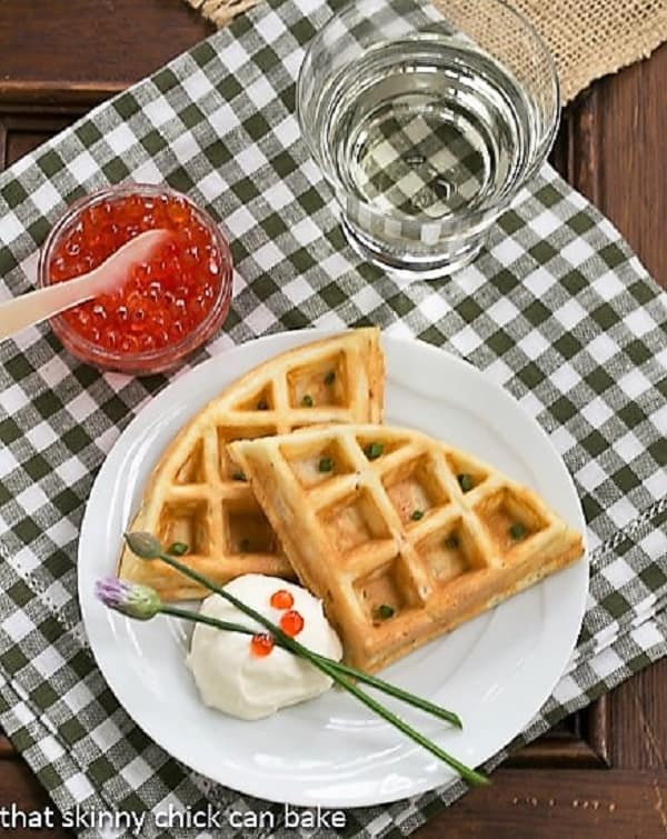 Smoked Salmon Waffles on a white plate from above