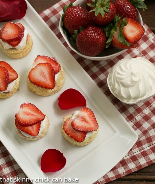 Overhead view of Strawberry Shortcakes on a white tray